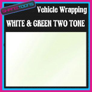 2M X 1524mm VEHICLE CAR VAN WRAP STYLING GRAPHICS WHITE & GREEN TWO TONE